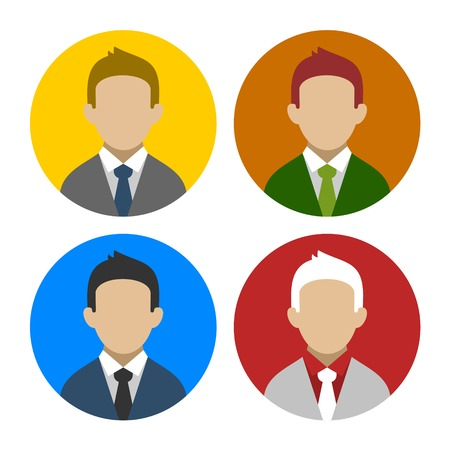 Colorful Businessman Userpics Circle Icons Set in Trendy Flat Style. Vector illustration Vector