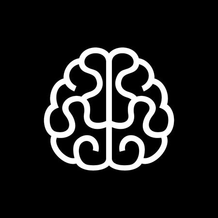 anatomy brain: Brain Icon. Vector Illustration on Black Background