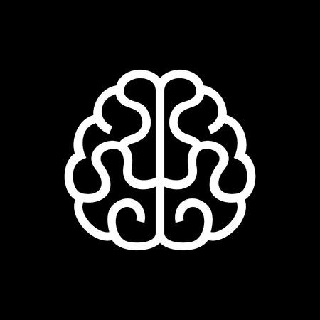 cerebro: Icono del cerebro. Ilustración vectorial sobre fondo Negro