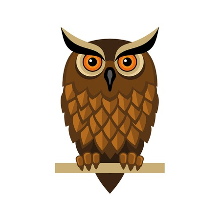 Decorative Hipster Vector Owl on White Background Vector