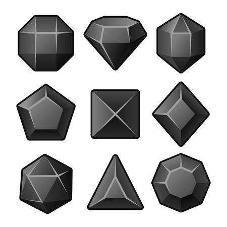 Set of Black Gems for Match3 Games. Vector illustration Vector