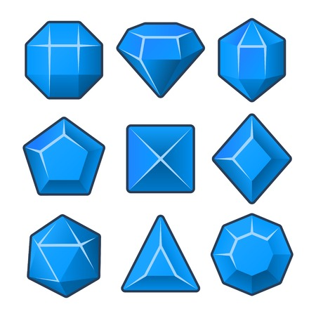 Set of Blue Gems for Match3 Games. Vector illustration Vector