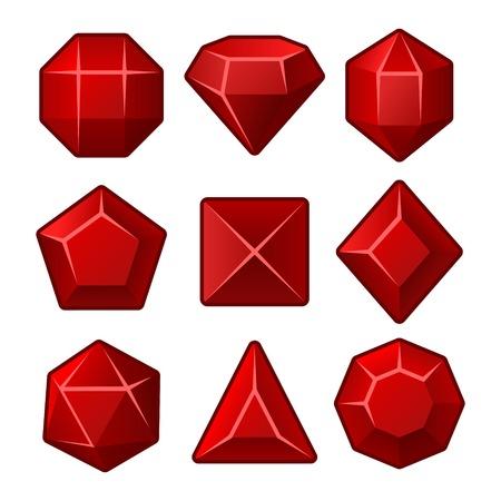 Set of Red Gems for Match3 Games. Vector illustration Vector