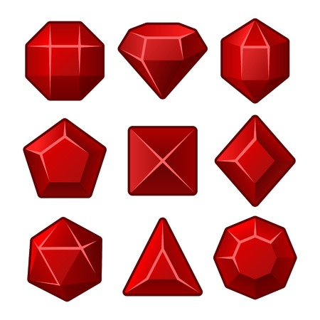 ruby stone: Set of Red Gems for Match3 Games. Vector illustration Illustration