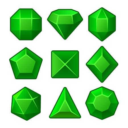 Set of Green Gems for Match3 Games. Vector illustration Vector