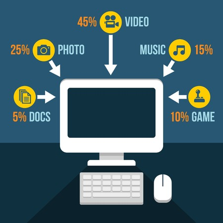 Computer Content Analytics Infographic in Flat Style. Vector illustration Vector