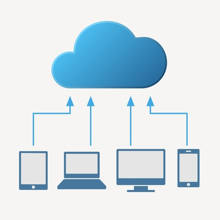 storage device: Cloud computing concept. Various devices like Smartphone, Tablet Computer PC Laptop  are connected to Cloud. Vector illustration