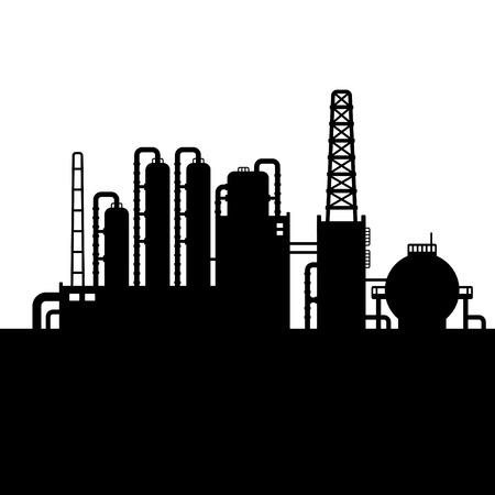 Olieraffinaderij en Chemische Fabriek Silhouette. Vector illustratie Stock Illustratie