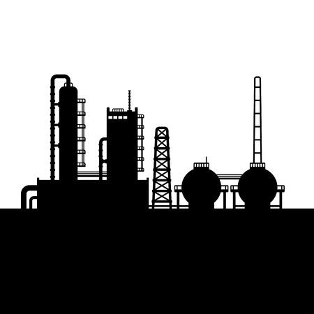 石油精製プラント、化学工場のシルエット。ベクトル イラスト