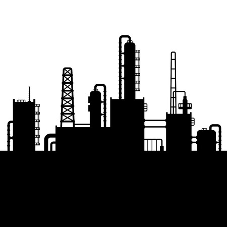 gas refinery: Oil Refinery Plant and Chemical Factory Silhouette. Vector illustration Illustration