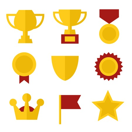 Trophy and Awards Icons Set in Flat Design Style  illustration