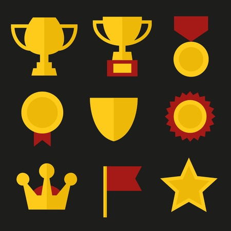 rank: Trophy and Awards Icons Set in Flat Design Style  illustration