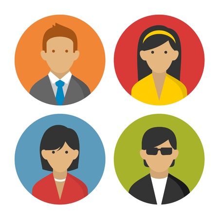 Colorful Peoples User pics Icons Set in Flat Style  Illustration Vector