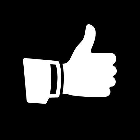 non verbal: Vector White Thumb Up Icon on Black Background