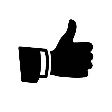 Black Thumb Up Icon on White Background Ilustração