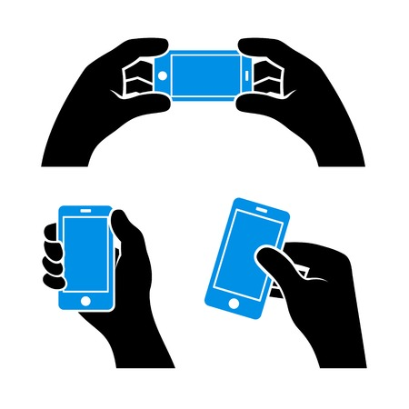 holding smart phone: Set of Hands Holding Smart Phone, Vector illustration