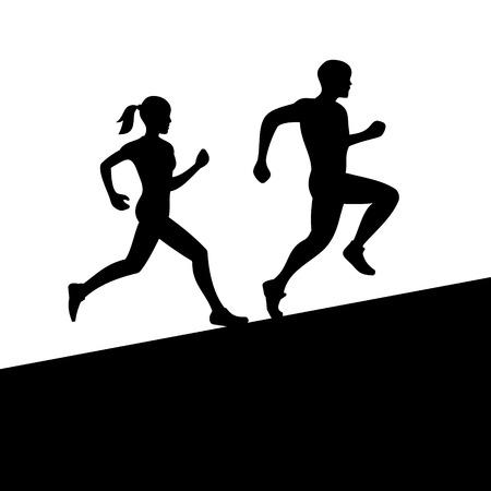 country: Runners, Man en Vrouw lopen silhouet Vector illustratie