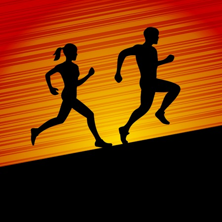 Runners, Man and Woman Running Silhouette  Vector illustration