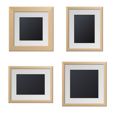 blank center: Realistic Wood Picture Frames with Blank Center  Vector illustration
