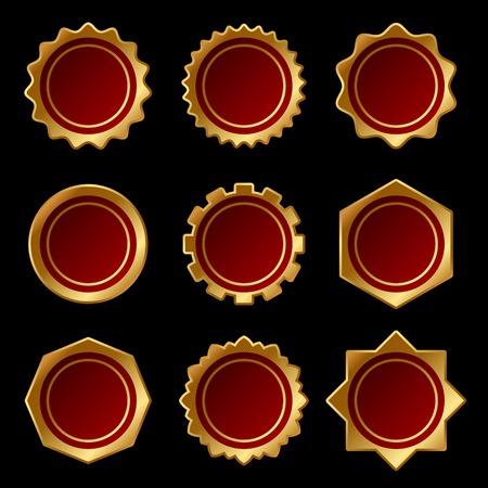 tampon cire: Ensemble de cire d'or blanc Seal Stamp Vector illustration