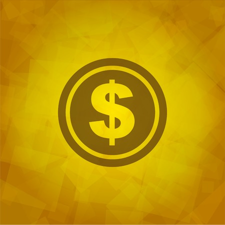 Dollar Icon on Yellow abstract Background  Vector Vector