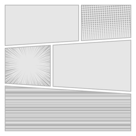 composition book: Comics pop art style blank layout template with dots pattern background  Illustration