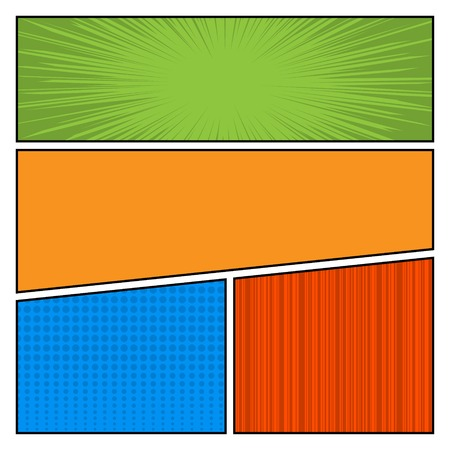 Comics Color pop art style blank layout template with dots pattern background  Vector