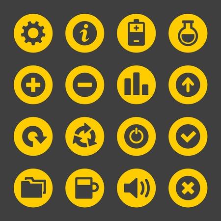 Universal Simple Web Icons Set on Dark  Vector