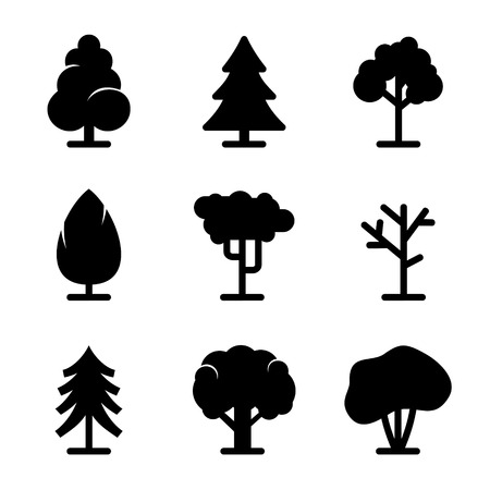 Tree icons set on white background  Vector  Vector