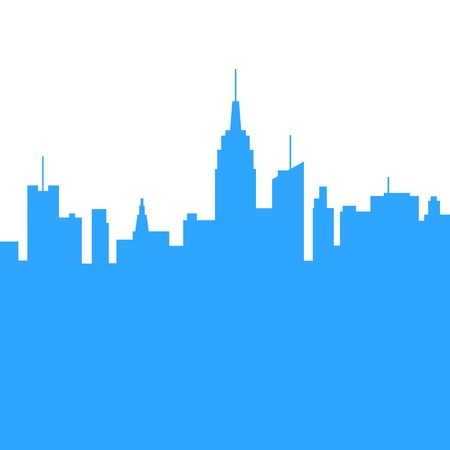 skylines: City Skylines Blue Silhouette on White Background  Vector Illustration