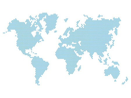 Dotted Blue World Map Isolated on White  Vector illustration Ilustração