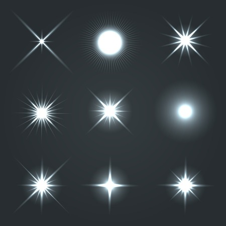 flash light: Light Glow Flare Stars Effect Set  Vector