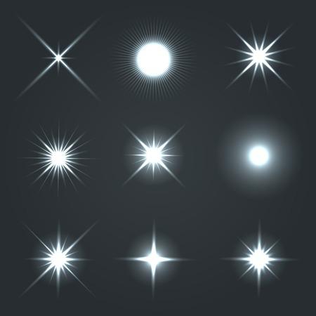 Luce Glow Flare Stars Effect Set Vector Archivio Fotografico - 29971214