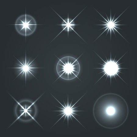 Lumière Glow Flare stars Effet Set Vector Illustration