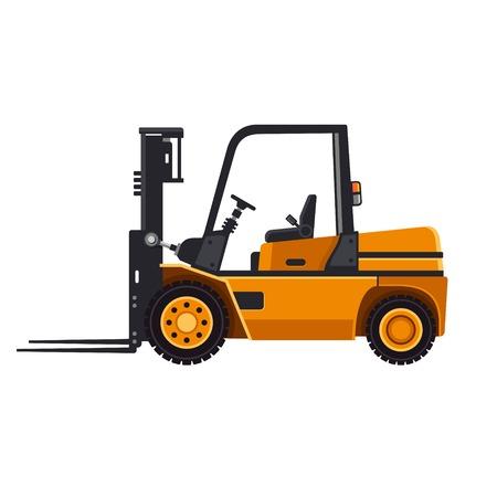 黄色フォーク リフト ローダー トラック分離白背景ベクトル イラスト上  イラスト・ベクター素材