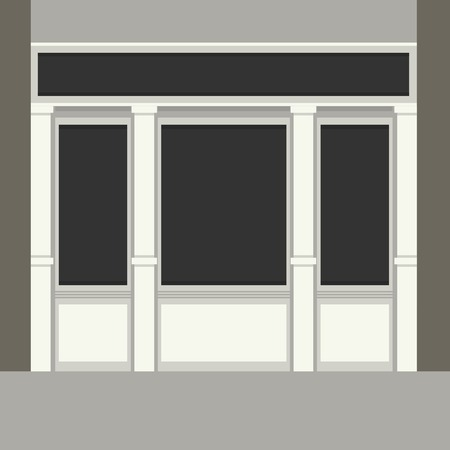 awnings windows: Shopfront with Black Windows  Light Store Facade  Vector Illustration