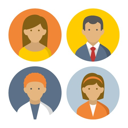 userpic: Colorful Peoples Userpics Icons Set in Flat Style  Vector Illustration
