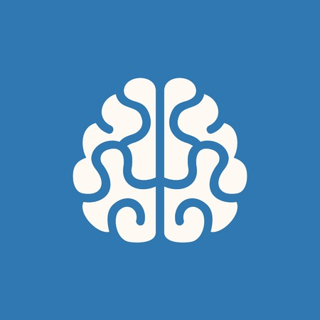 Brain Icon  Vector Illustration on Blue Background Vector