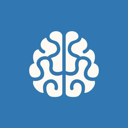 psicologia: Icono del cerebro ilustración vectorial sobre fondo azul