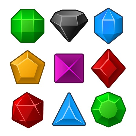 Set of Multicolored Gems for Match Games  Vector illustration Vector