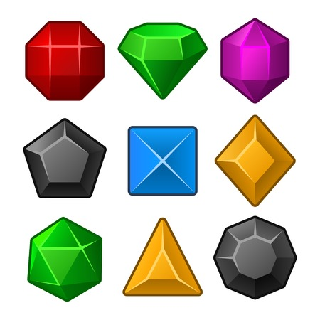 Set of Multicolored Gems for Match3 Games  Vector illustration Vector