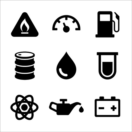 pressure gauge: Gasoline Diesel Fuel Service Station Icons Set  Vector illustration Illustration
