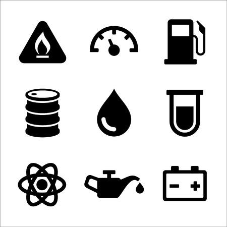 car dashboard: Gasoline Diesel Fuel Service Station Icons Set  Vector illustration Illustration