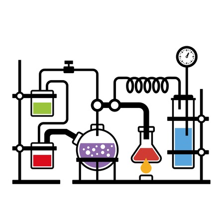 Chemistry Laboratory Infographic with Some Reaction  Vector Illustration