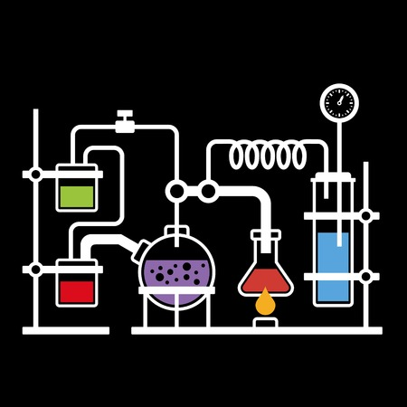 Chemistry Laboratory Infographic with Some Reaction on Black Background  Vector Vector