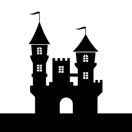 Castle Silhouette Icon on White Background  Vector illustration Illustration