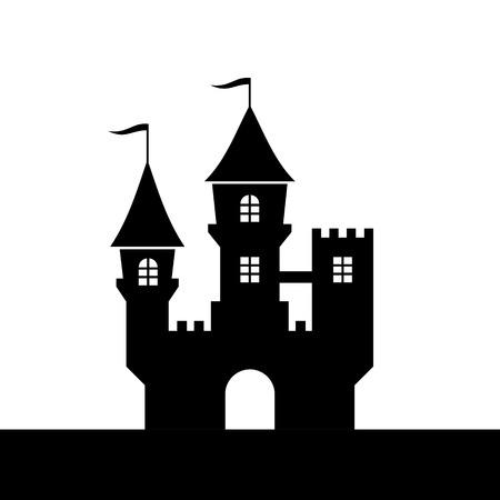 castle silhouette: Castle Silhouette Icon on White Background  Vector illustration Illustration