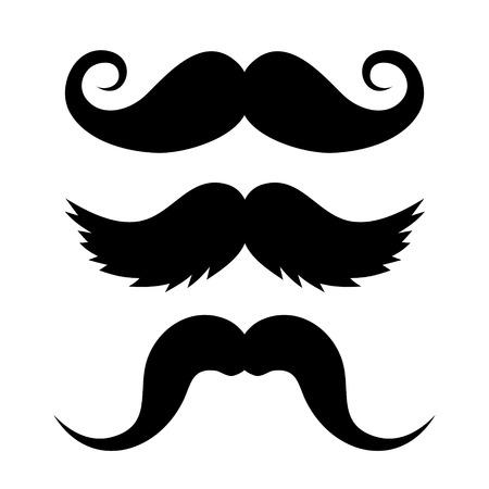 Set of Mustache on White Background  Vector illustration
