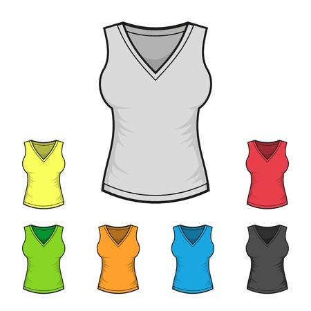 Women\'s V-neck T-shirt Design Template Color Set Royalty Free ...
