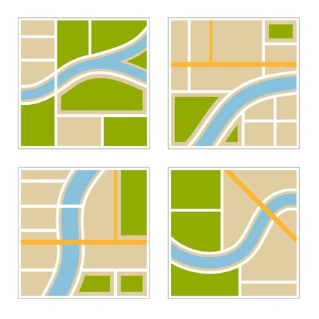 route map: Set of Abstract City Map Illustration